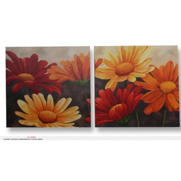 cuadro 50x50x2 margaritas color 2mod deco cuadros rivero
