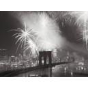 Nueva York - Fuegos artificiales sobre puente de Brooklyn
