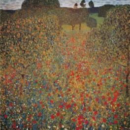 Gustav Klimt - Prado con amapolas
